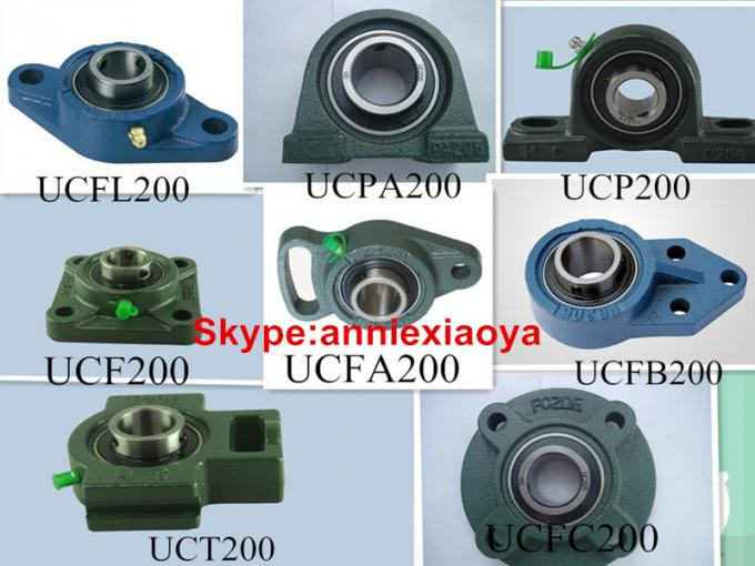 Green 40mm Pillow Block Bearing Low Friction Chrome Steel With Cast Iron Housing