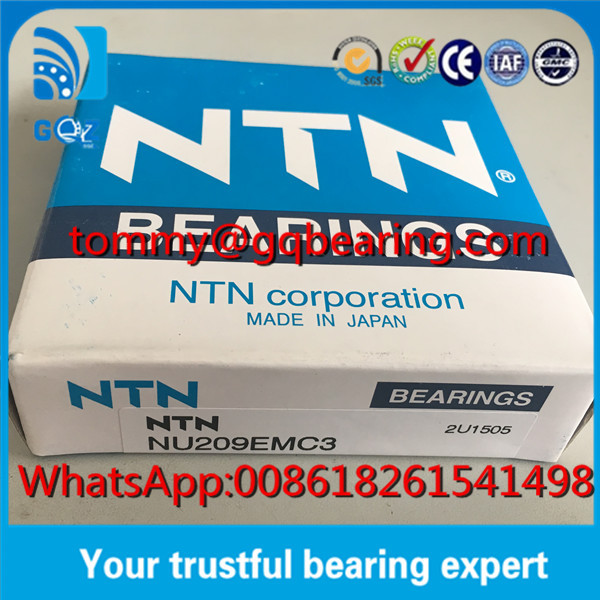 C3 Clerance Brass Cage NTN NU209EMC3 Cylindrical Roller Bearing