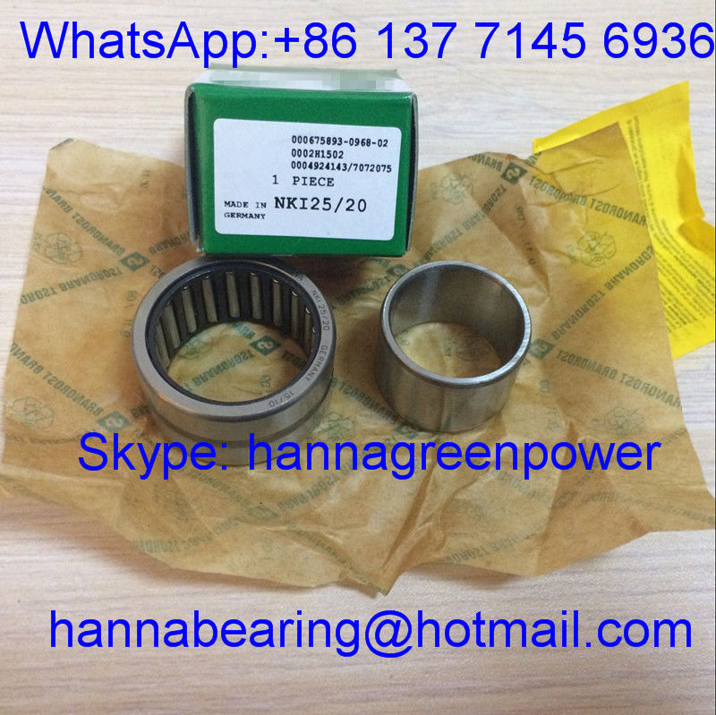 NKI25/20-TV-XL / NKI25-20 Fibre Polyamide Cage Needle Roller Thrust Bearing With Inner Ring 25*38*20 Mm